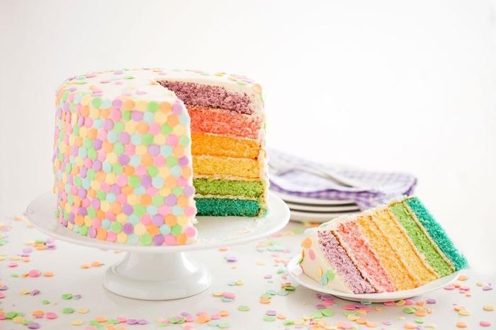 recette de layer cake de printemps à base de génoises colorées, décoré avec des confettis en sucre en couleurs pastel