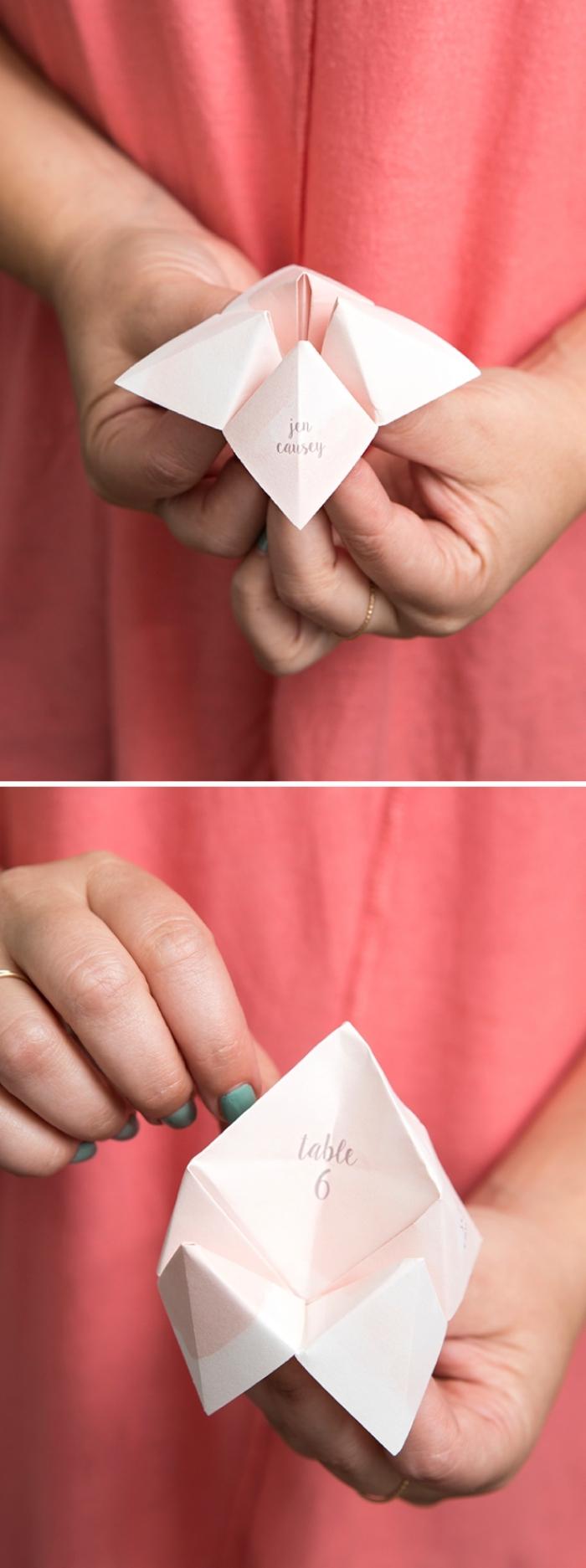 le pliage cocotte facile pour réaliser un marque-place origami personnalisé qui fera aussi une jolie décoration de table
