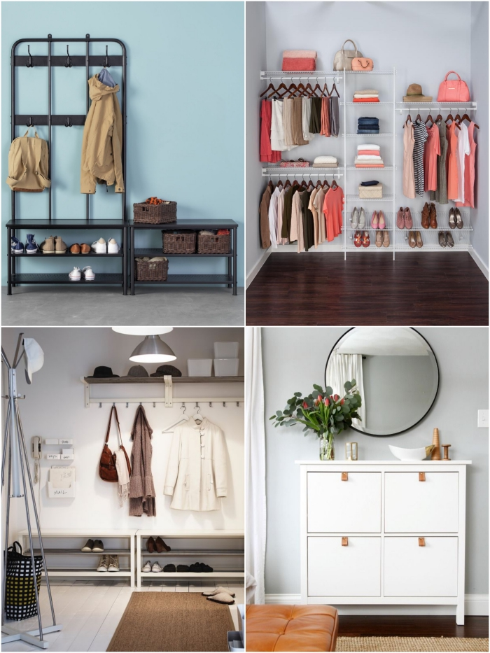 des meubles d'entrée fonctionnels et minimalistes avec espace pour ranger ses chaussures, un meuble de rangement chaussures pas cher avec penderie et espace de rangement