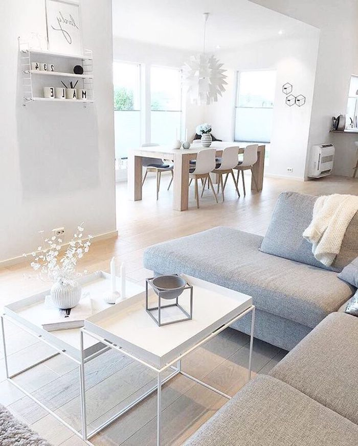Idée déco salon moderne deco moderne salon chouette idée déco salon salle à manger table basse en deux niveaux canapé en angle gris claire salon scandinave