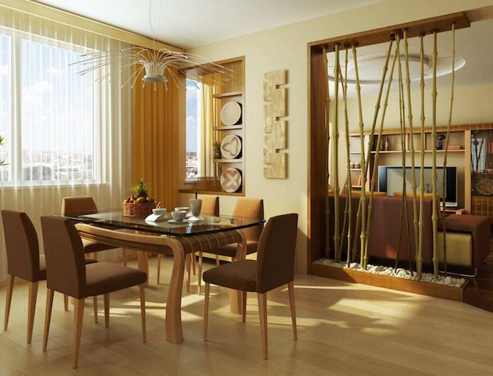 idée pour séparer cuisine ouverte du salon avec branches de bambou en vertical