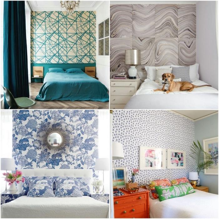 idées déco tête de lit originale avec du papier peint imprimé posé sur un pan de mur ou sur le mur entier