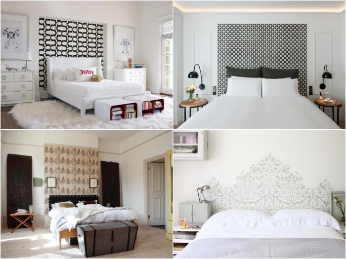 découvrez les mille et une façons de décorer une chambre à coucher avec une tête de lit en papier peint tendance posé sur un pan de mur derrière le lit