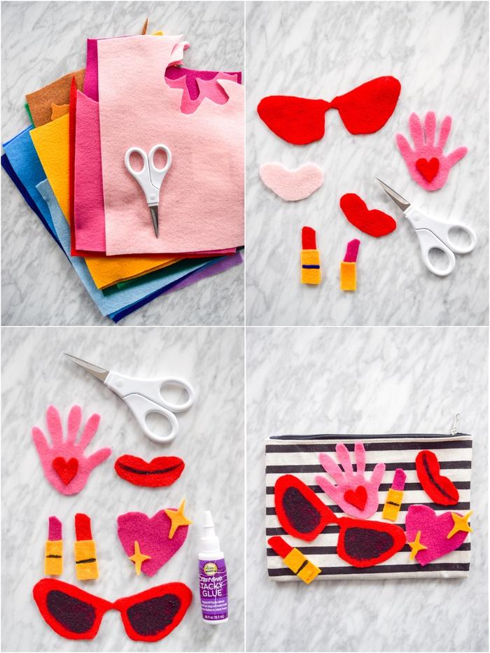 idée pour un cadeau personnalisé à fabriquer soi-même, jolie trousse a maquillage rayures personnalisée avec des emojis girly en feutre