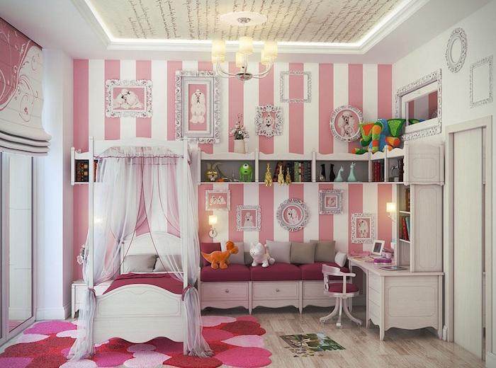 deco peinture chambre fille style princesse baroque avec mur bandes blanc rose et tapis coeurs
