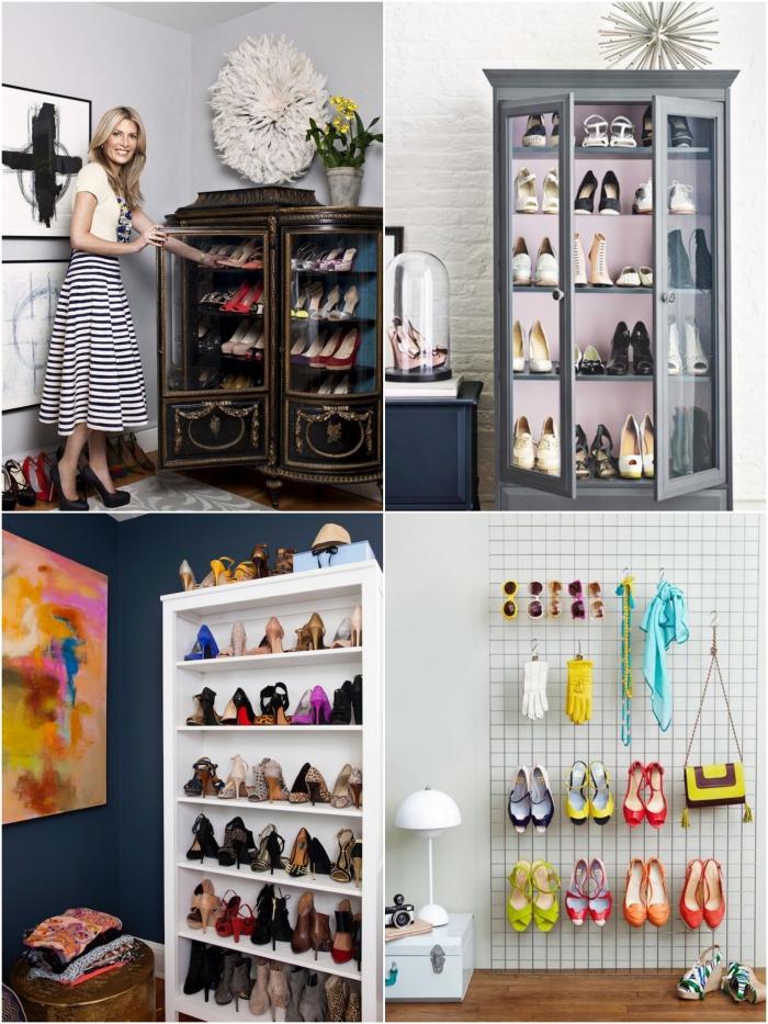 idee rangement chaussure pour mettre sa collection en vitrine, des meubles détournés en rangement chaussures insolites