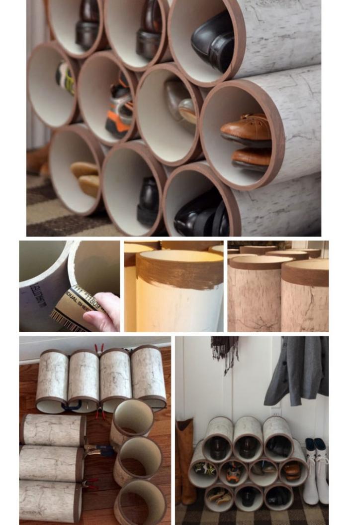 idée de rangement chaussures pas cher réalisé en tubes pvc, idéal pour l'aménagement d'une entrée de style rustique ou campagne chic