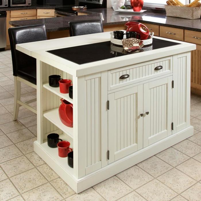 rangement placard, meuble cuisine rangement blanc, carrelage en couleur ivoire, plan noir brillant, tiroir de rangement, amenagement placard