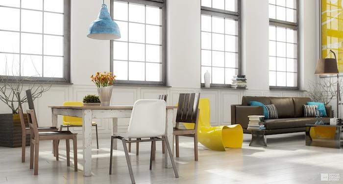 Aménager un salon en longueur deco moderne salon décorer son salon lustre bleu déco salon bleu et jaune originale combinaison