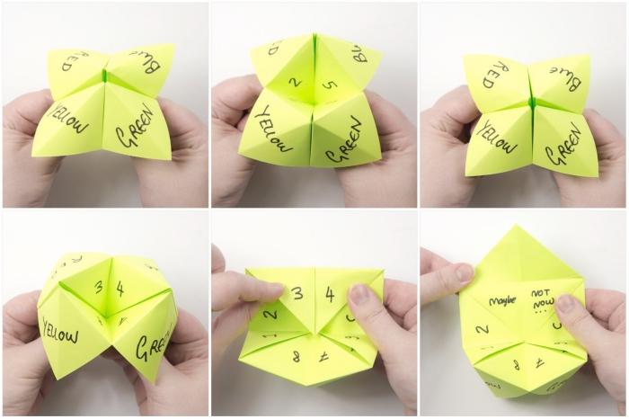 idée de passe-temps amusant pour petits et granfs, les étapes de pliage et les règles du jeu de la cocotte en papier