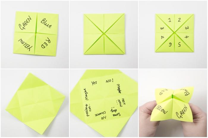 les étapes de pliage et les règles du jeu de la cocotte en papier, idée de passe-temps amusant pour petits et grands