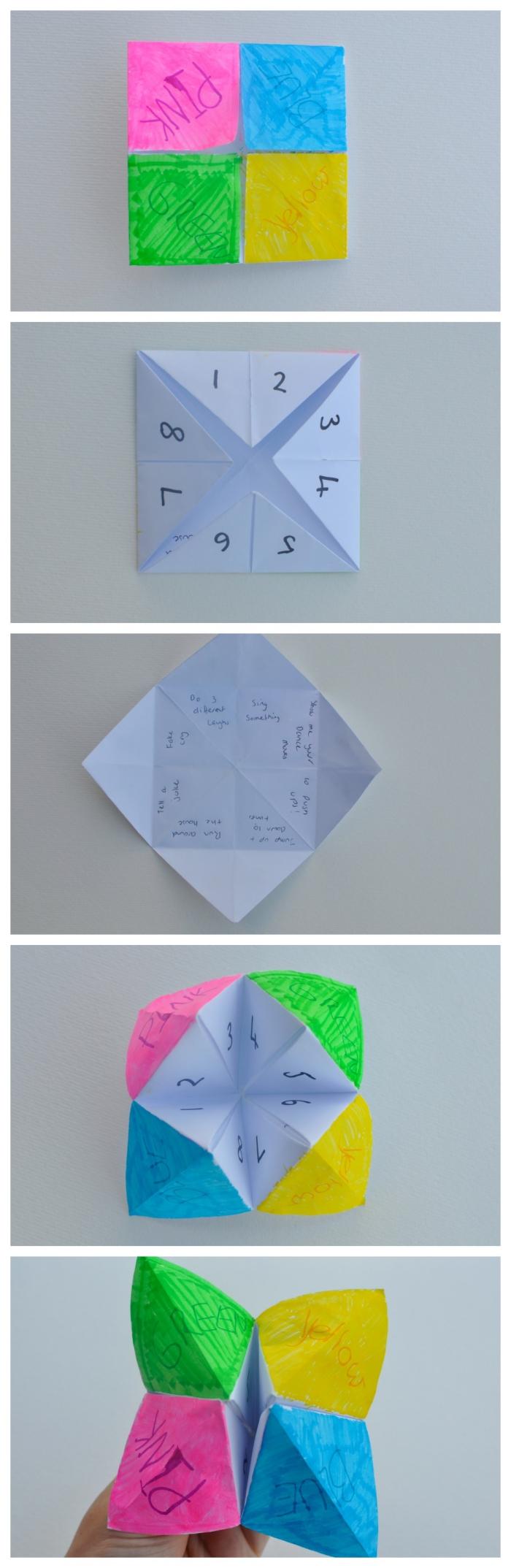 tuto pour réaliser une cocotte origami multicolore pour jouer ensuite le diseur de bonne aventure, idée d'une activité origami originale pour amuser les enfants