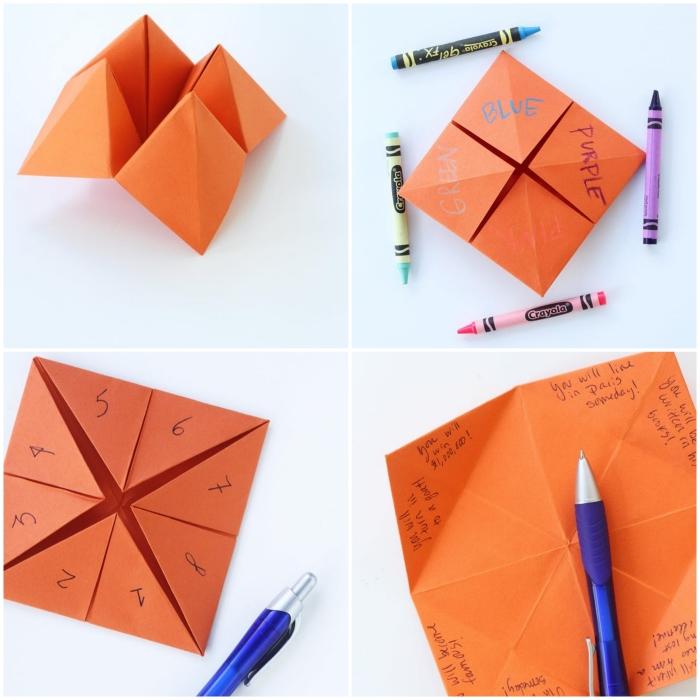 le pliage d'une cocotte en papier traditionnelle avec ces petits défis inscrits dessus