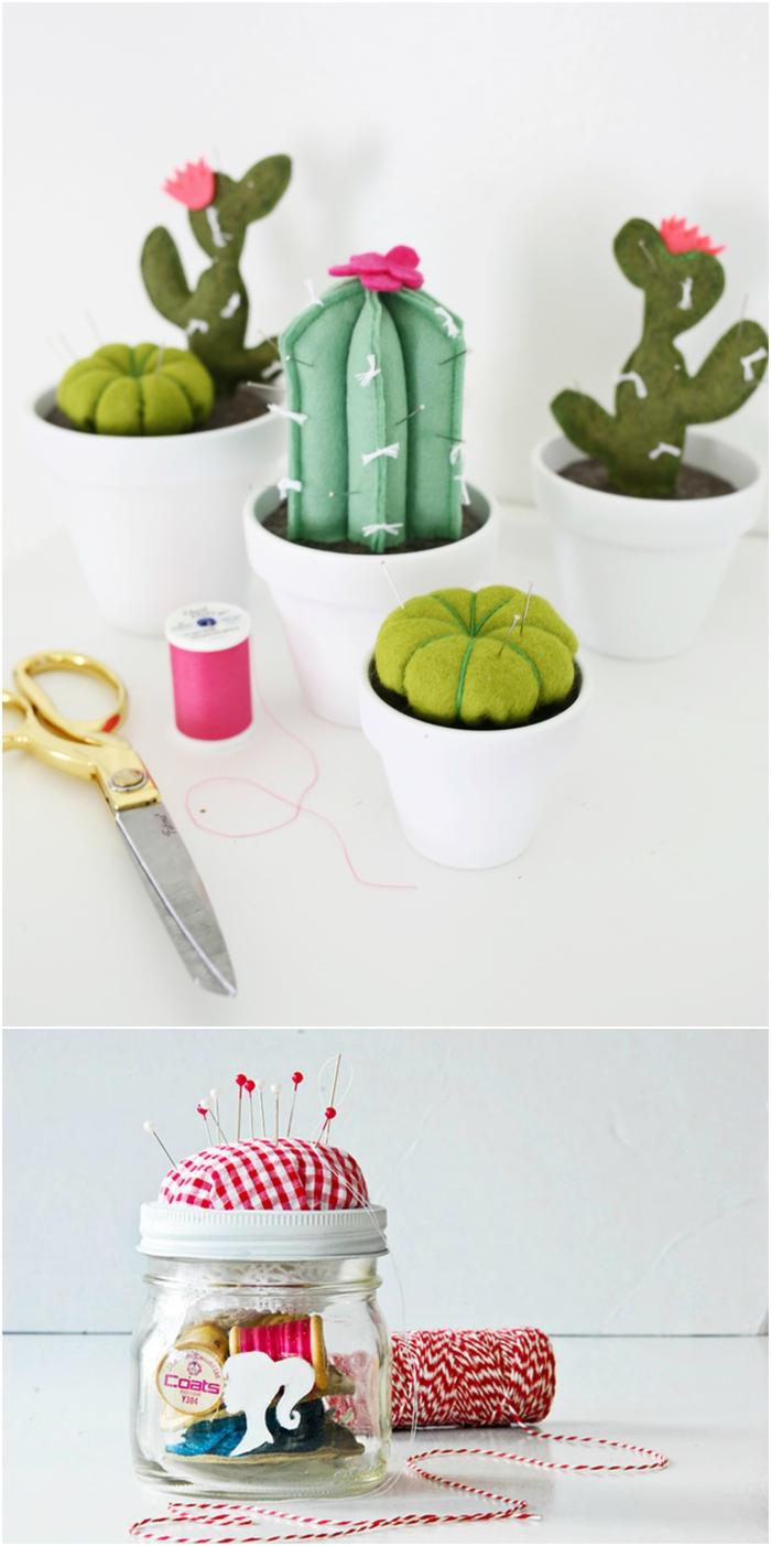 idée cadeau fête des mères a fabriquer soi-même pour les mamans passionnées de la couture, joli pique-aiguilles en forme de pot de cactus
