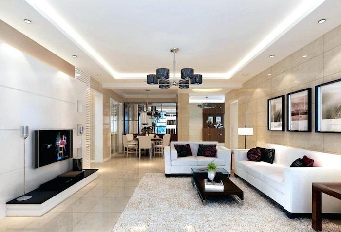 Déco salon salle à manger décorer son salon amenager petit salon lux en blanc et noir idée moderne pièce