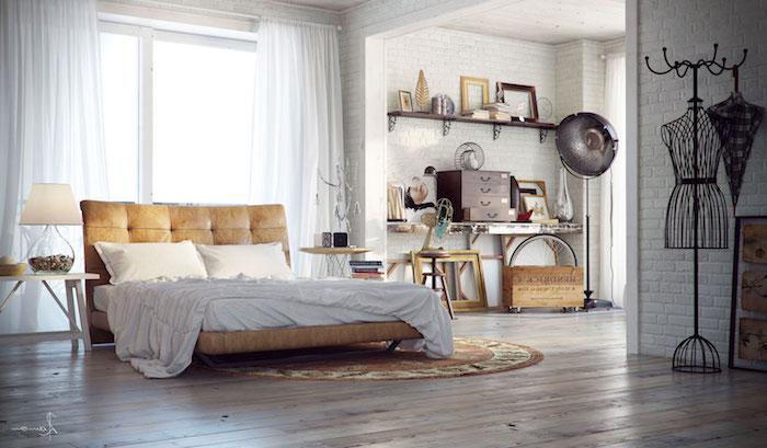 lit cuir beige style industriel, parquet bois, etageres industrielles surchargées d objets usine vintage, murs briques blanches