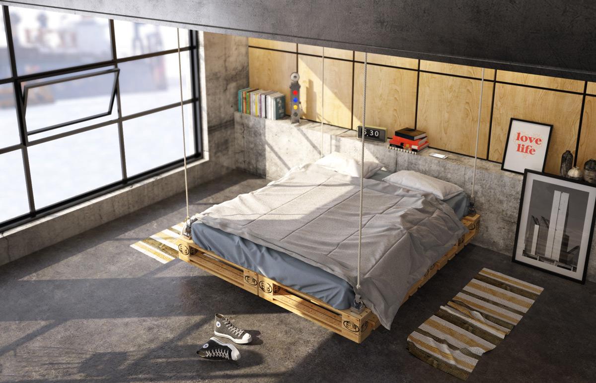 idée de lit suspendu en palette à des cordes, sol en béton et mur de bois, grandes baies vitrées