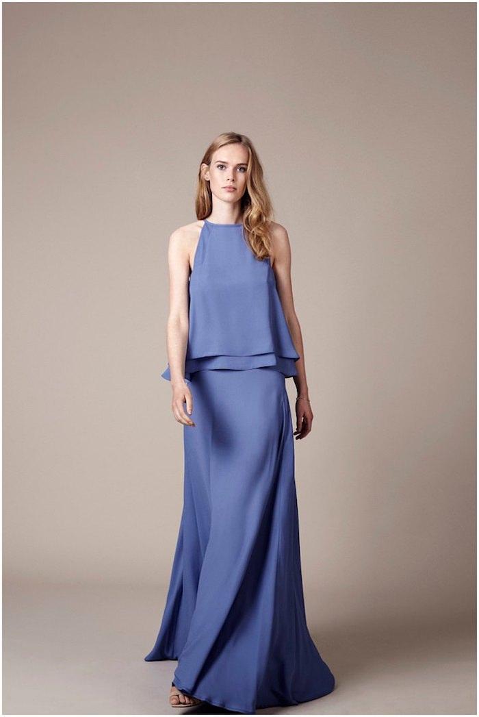 Longue robe bleu pantalon femme chic pour mariage ootd mariage élégance féminine