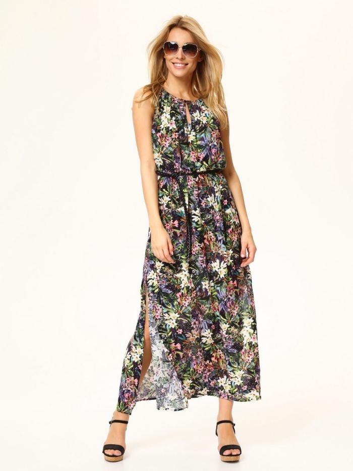 robe longue et élégante d'été avec ceinture noire et motifs floraux, porter une robe longue avec sandales à plateformes