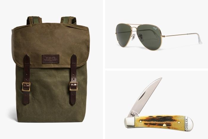 exemple d'objets à offrir à son père, modèle de sac à dos de couleur kaki combiné avec paire de lunettes homme