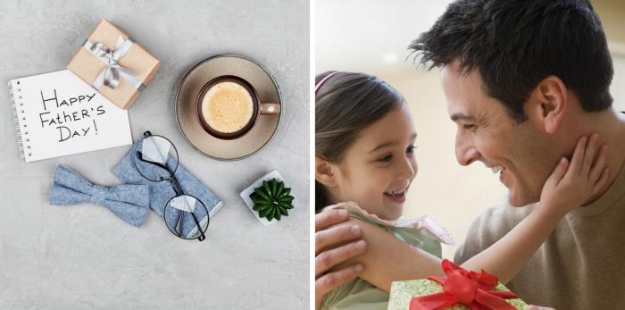 quel cadeau choisir pour son père, exemple de boîte cadeau avec emballage en papier beige et ruban métallique gris