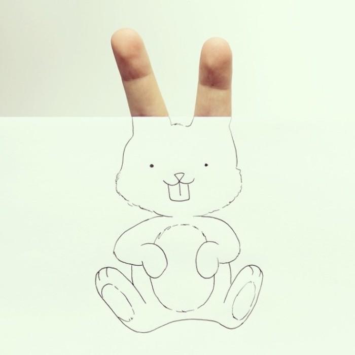 Petit dessin mignon rabit doigts pour oreilles quel dessin choisir à faire mignon dessin animé