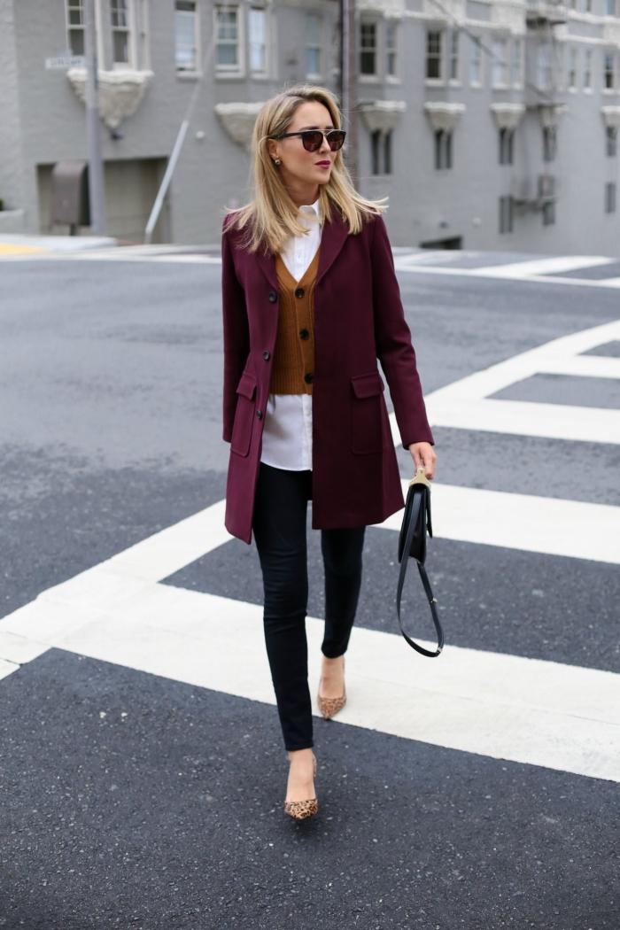 idée comment assortir ses vêtements pour une tenue business femme, modèle de pantalon noir slim combiné avec chemise blanche loose