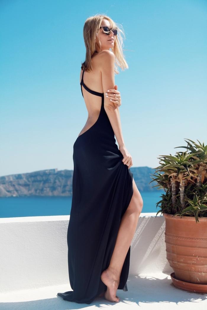 modèle de robe élégante pour soirée sur la plage, robe longue avec dos nu et lacets de couleur noire