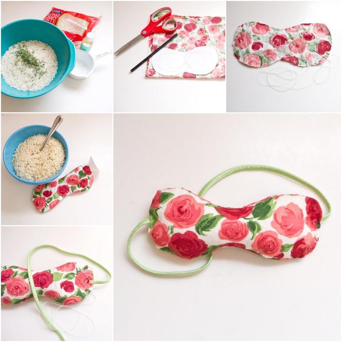 tuto pour réaliser un masque de relaxation anti stress pour les yeux en tissu imprimé à motif roses, bricolage fête des mères pratique et original