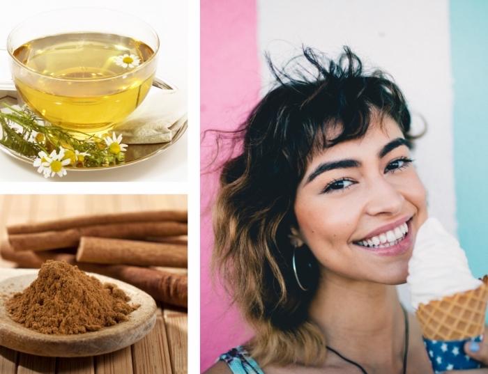 idée pour une recette de décoloration cheveux maison avec thé de camomille ou poudre de cannelle, coupe de cheveux mi longs avec frange courte