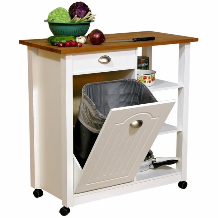 meuble cuisine rangement, rangement coulissant cuisine, meuble en blanc et marron avec des roues noires, espace rangement poubelle ordures