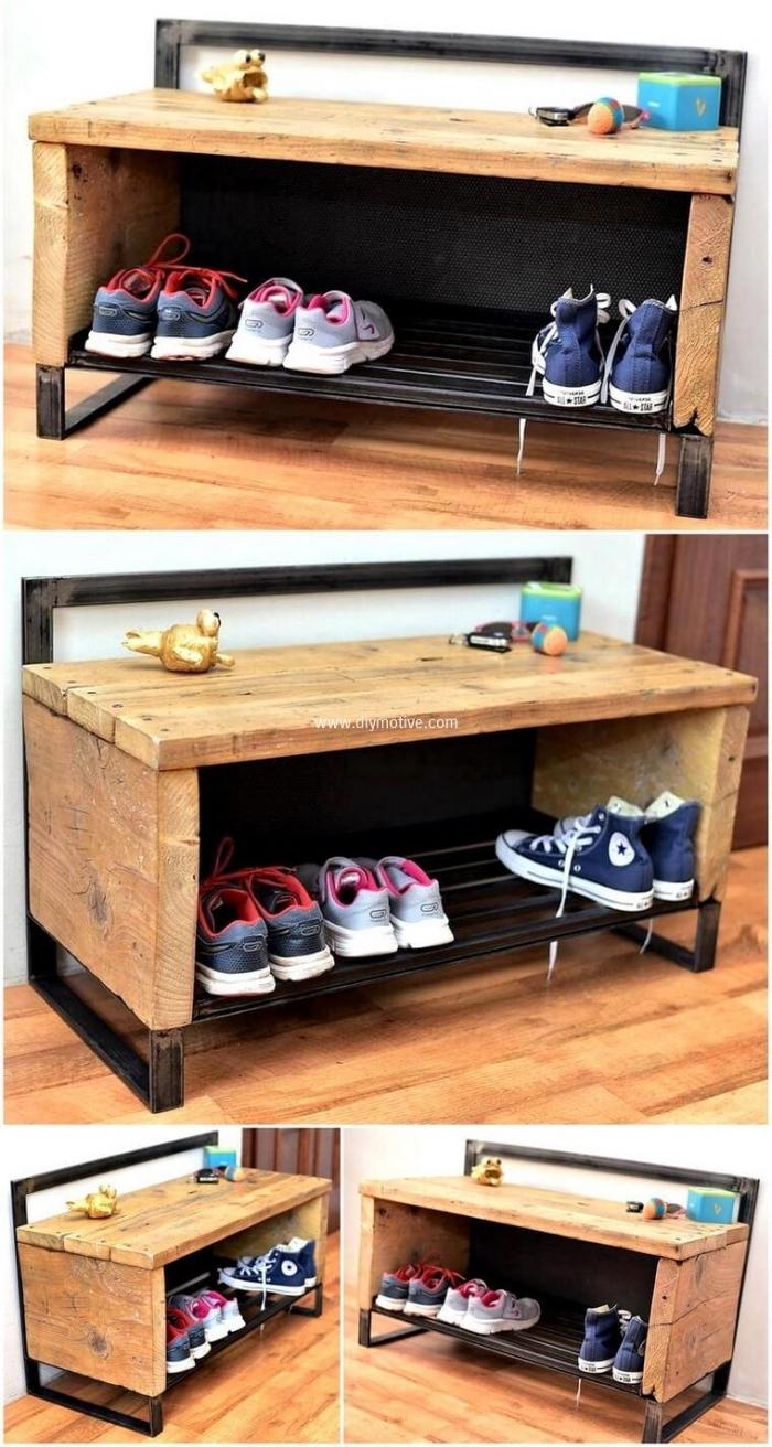 petit meuble chaussure en bois de récup qui fait office de banc d'entrée