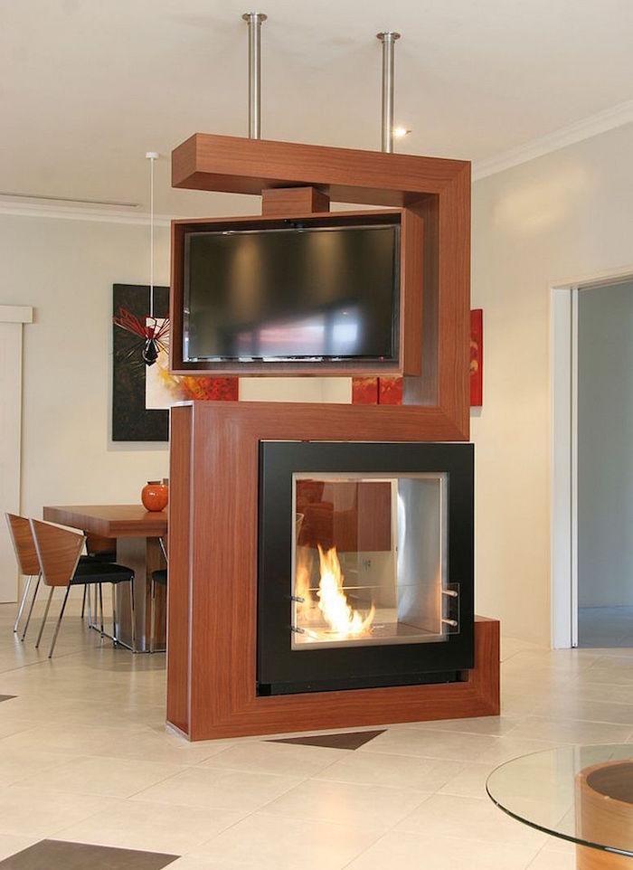 meuble séparateur de piece salon design avec support tv et cheminée