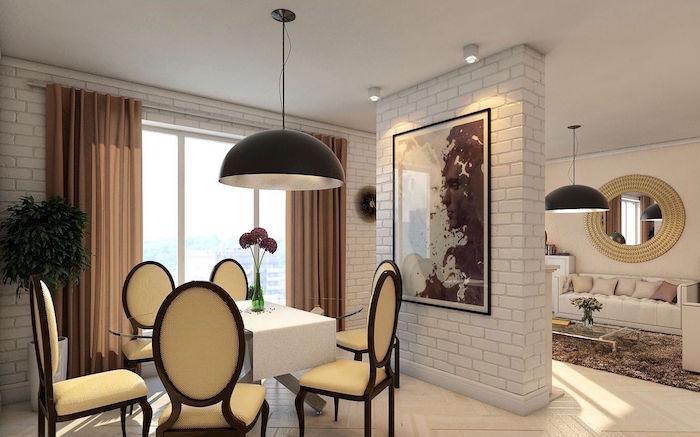 photo mur en briques blanc pour séparation entre cuisine et salon