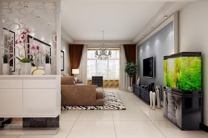 meuble blanc forgé de separation de piece entre cuisine et séjour