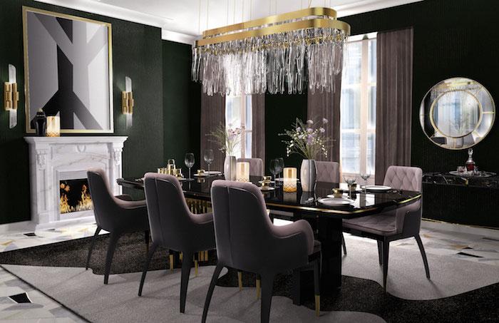 ensemble salle à manger moderne luxe avec déco noire et or sur tapis noir et gris