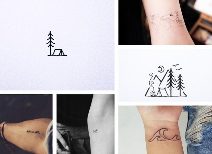symboles pour un tatouage homme discret ou femme à design camping dans la forêt, mini dessin avec sapin et tente