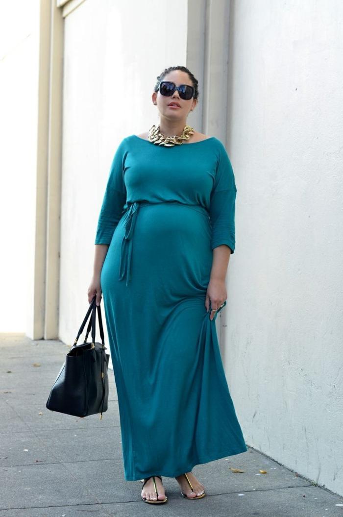 robe pour femme ronde, robe longue, collier chaine, lunettes de soleil, modèle de robe casuelle