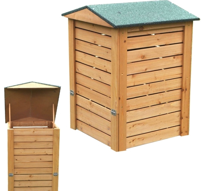 composteur en bois pour jardin avec porte et petit toit vert, modèle de bac à composter fabriqué de bois clair