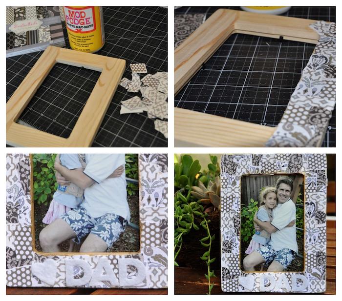 idee fete des peres bricolage simple, cadre photo bois décoré de bouts de tissu gris et blanc et lettres papa en feutrine
