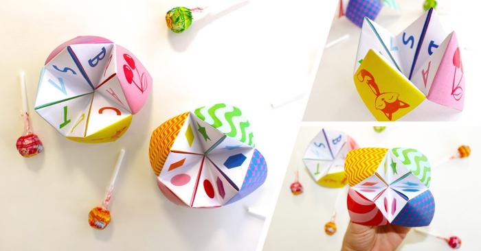 idée d'activité amusante et créative pour occuper les enfants et faire sourire les grands, modèle de cocotte en papier multicolore avec des chiffres et des fruits colorés