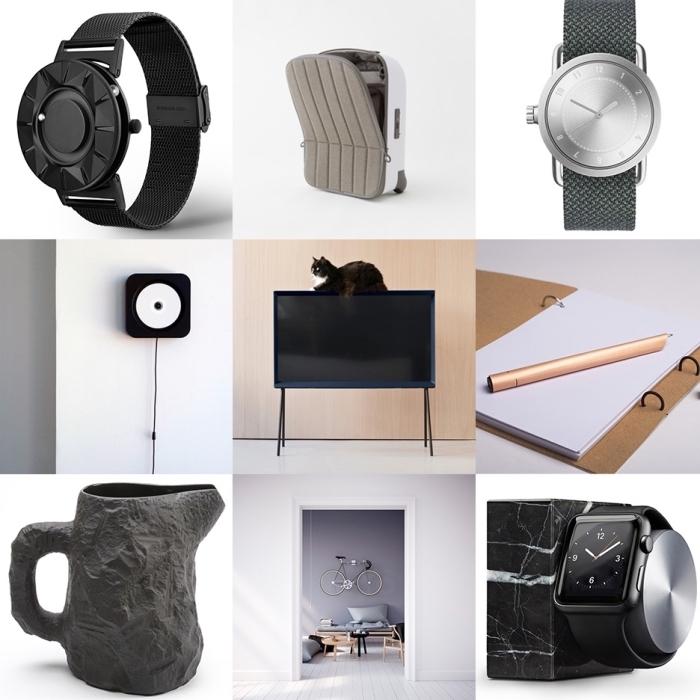 modèles d'accessoires et objets mode et design intérieur fonctionnels et smart, modèle de montre noir mate pour homme