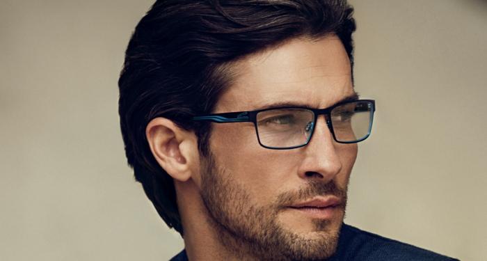 f829498126429 monture lunette homme, lunette de vue tendance, monture en métal noir et  bleu électrique