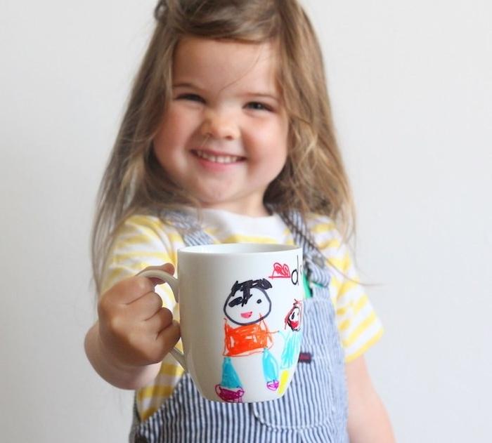 mug blanc personnalisé de dessin enfant simple papa et moi, cadeau fête des pères maternelle