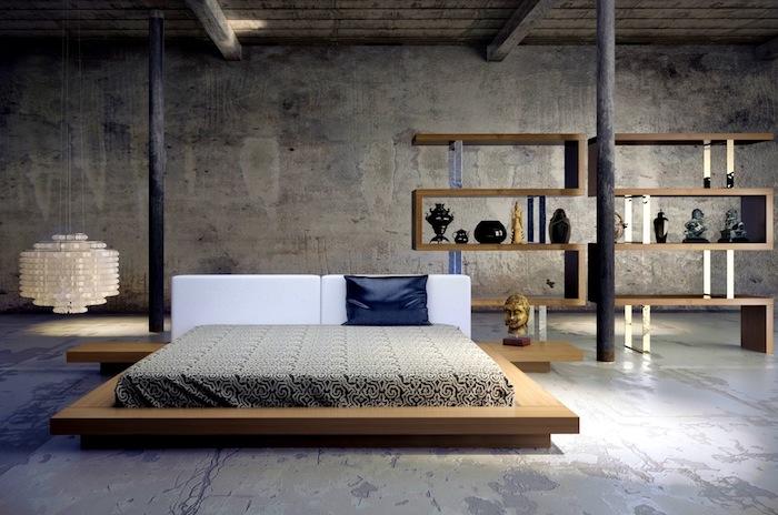 etagere industrielle intéressante en bois, sol et murs gris, poutres apparentes, suspension originale, statuette bouddha