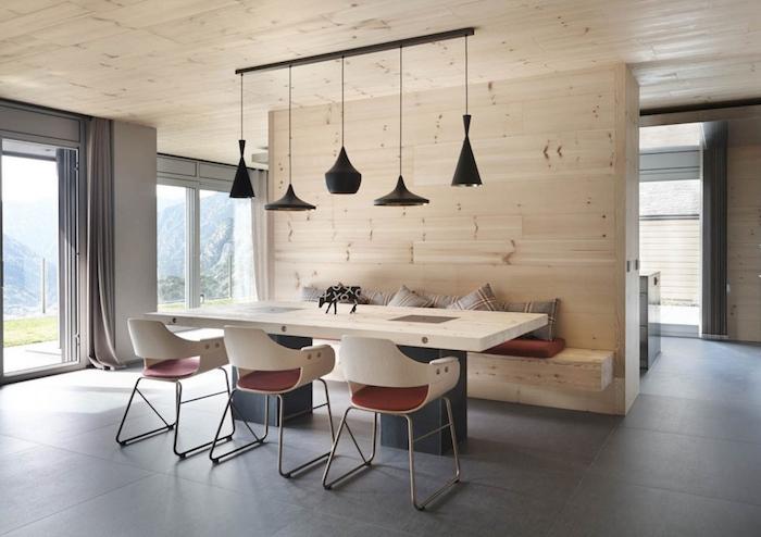 mur en bois avec banc pour sеparation cuisine salon dans intérieur déco scandinave