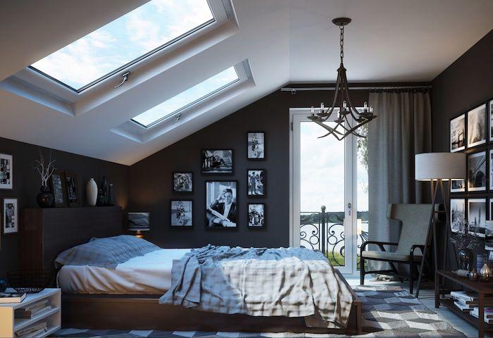 murs couleur gris anthracite avec deco de photos noir et blanc, chambre sous comble avec meuble style industriel épuré