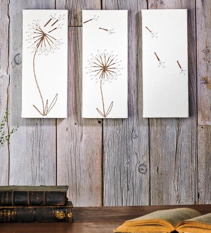 idée comment décorer les murs d'intérieur, objet DIY facile en forme de trois panneau de bois colorés en blanc