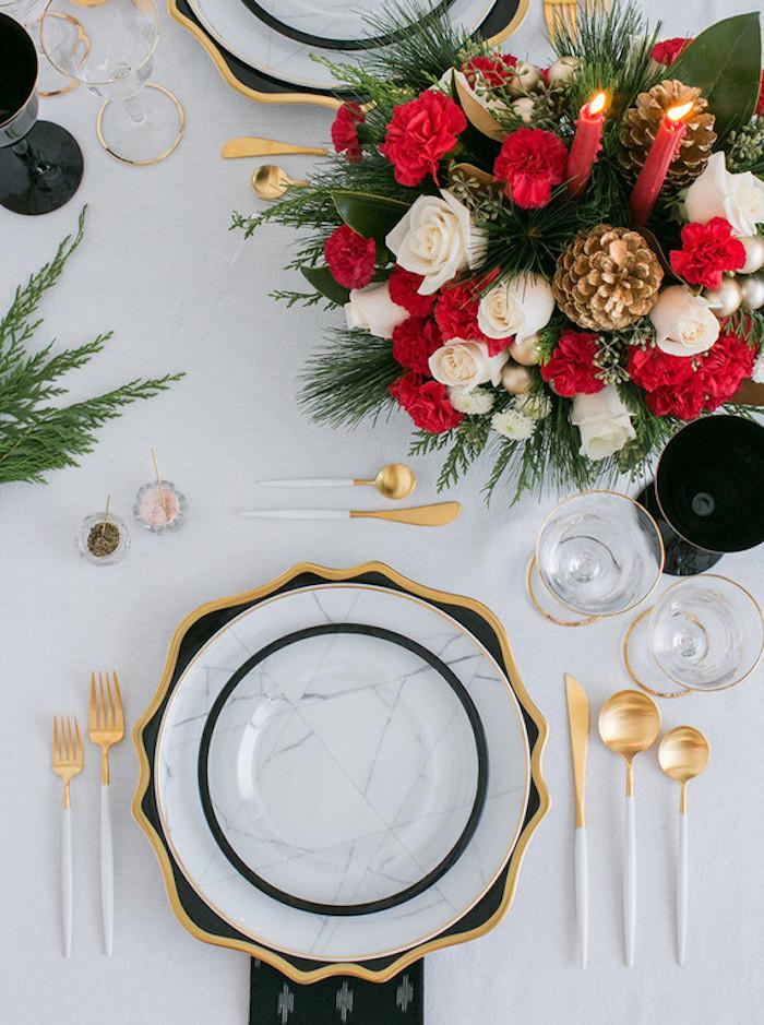 Deco de table mariage décoration de table mariage cool idée mariage photo belle décoration mariage noel rouge et doré