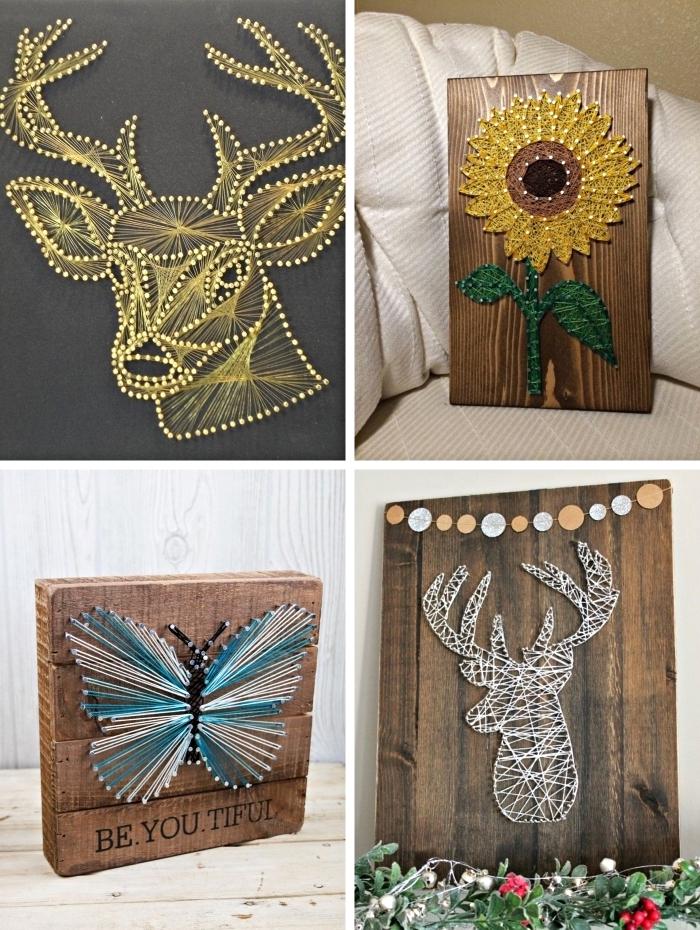 exemples de décoration murale fait main avec bois et fil à coudre, modèle de portrait DIY à design animal et floral